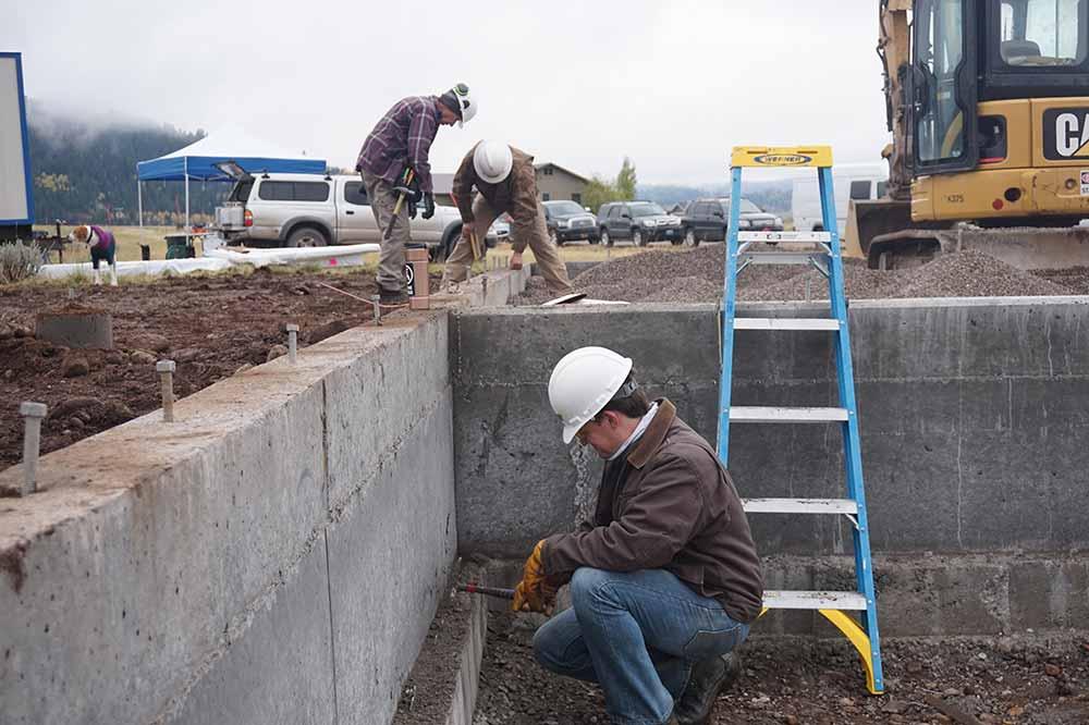 Construction site volunteers